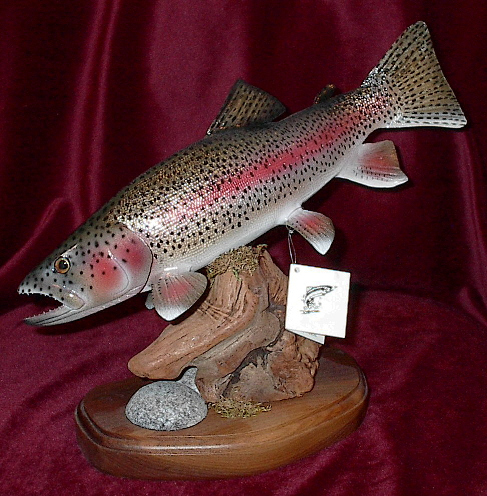 Rainbow trout sculpture carving fly fishing reel looking